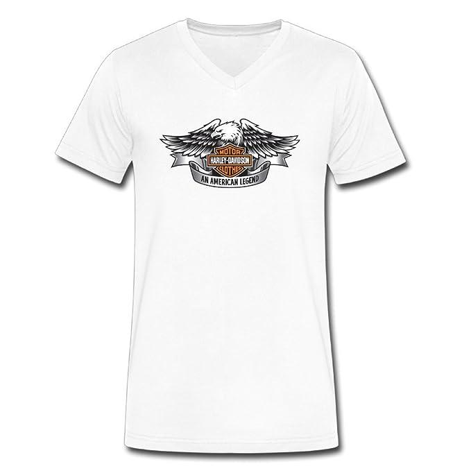 Harley Davidson cuello de pico camisetas camiseta Vintage para hombre 100% algodón Negro blanco M: Amazon.es: Ropa y accesorios