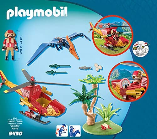 PLAYMOBIL Dinos 9430 Helikopter mit Flugsaurier, Ab 4 Jahren