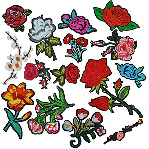 Iron On Patches, Satkago 15 Pcs Flower Patches Iron On or Sew On Rose Applique Embroidered Patches for Clothes Jeans Jackets Backpacks