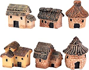 ZJW 6 pcs Miniature Fairy Garden Stone Houses Dollhouse DIY Decor Ornaments Accessories for Outdoor, Patio, Micro Landscape, Yard Bonsai Decals