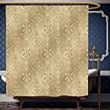 Wanranhome Custom-made shower curtain Beige Decor Damask Patterns Weaving Byzantine Islamic Antique Lace Floral Motifs Nostalgic Retro Chic Deco Beige For Bathroom Decoration 72 x 96 inches