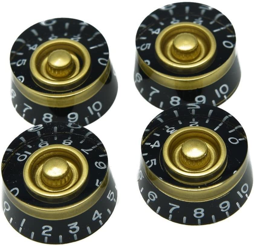 KAISH 4pcs Black with Red Custom Guitar Speed Dial Knobs Control Knob fits LP Guitar
