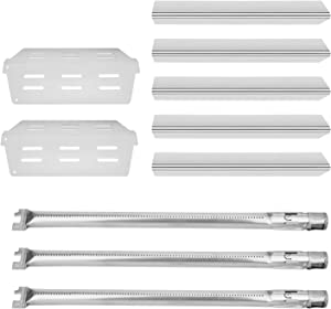 DcYourHome Grill Replacement Parts Kit for Weber Genesis 300, Flavorizer Bars and Heat Deflector、Burner Tube Kit for Weber Series E310 E320 E330 EP310 EP320 EP330 with Front Control Knob(2011&Newer)