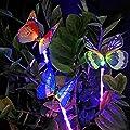 Sooreally Garden Solar Lights, Solar Stake Light Multi-Color Changing LED Garden Lights, Fiber Optic Butterfly Decorative Lights a Purple LED Landscape Light Stake-3 Pack