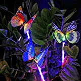 Sooreally Solar Garden Lights, Solar Stake Light Multi Color Changing Lights, Fiber Optic Butterfly Solar Light LED, Yard Decoration Lights Outdoor with a Purple LED Light Stake, 3 Pack (butterfly)