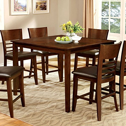 Hillview Transitional Style Brown Cherry Finish 5-Piece Counter Height Table Set