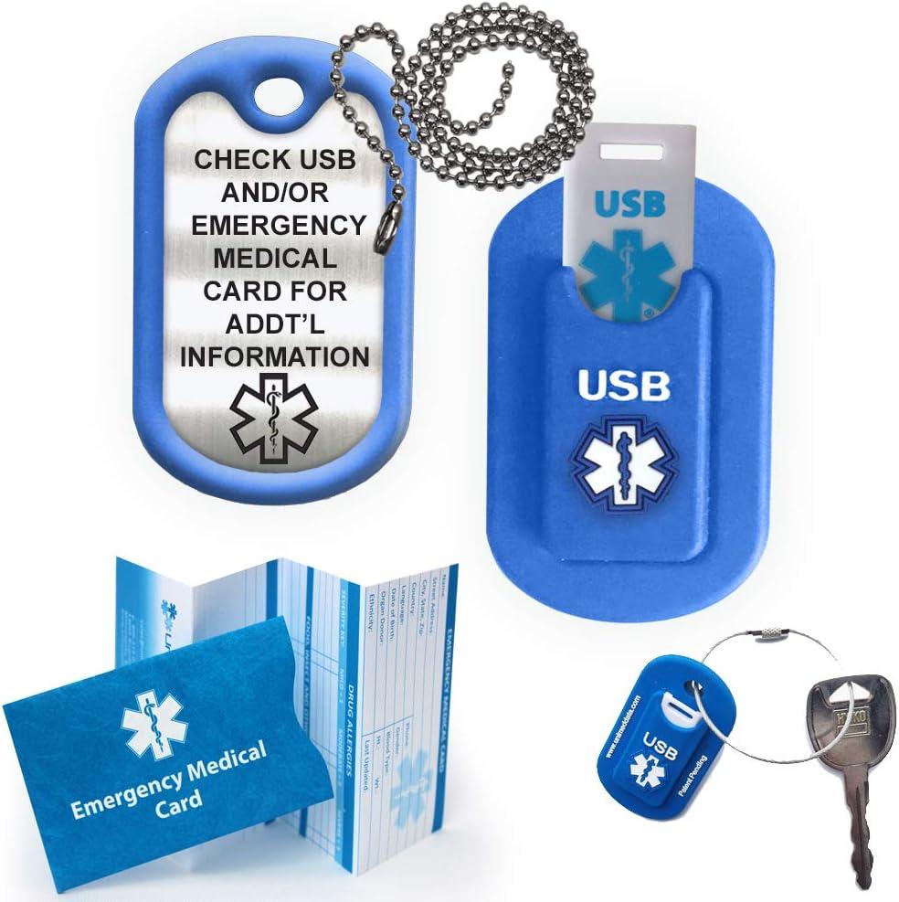 Medical Alert INFORMER LITE USB Dog Tag – Blue