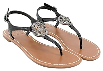 c74a41e7f3ec1a Amazon.com  Tory Burch Violet Metallic Thong Sandal Flip Flop Flat Thong  Leather Metal Tb Logo (8.5