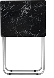 Home Basics Multi-Purpose Sturdy and Durable Decorative Bedside Laptop Snack Cocktails TV Folding Table Tray Desk Bedside Laptop Snacks Black Marble