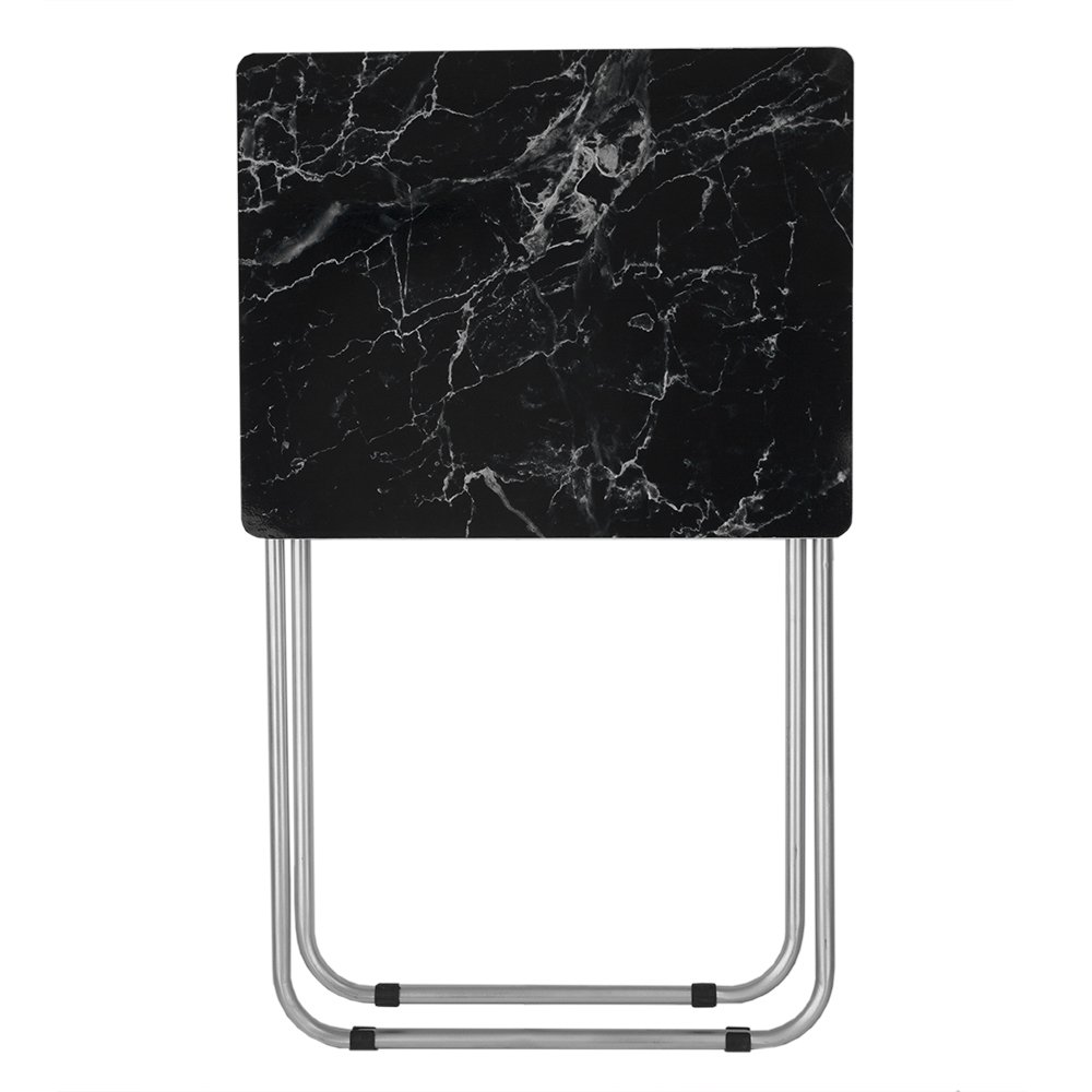 Home Basics Multi-Purpose Sturdy and Durable Decorative Bedside Laptop Snack Cocktails TV Folding Table Tray Desk Bedside Laptop Snacks Black Marble by Home Basics (Image #1)