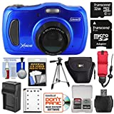 Coleman Xtreme4 C30WPZ Waterproof HD Digital Camera (Blue) with 32GB Card + Battery & Charger + Case + Tripod + Floating Strap + Kit