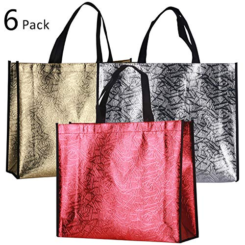 - Rumcent Bling Glossy Durable Non-woven Laser Tote Bag Shopping Bag Gift Bag, Reusable Grocery Shopping Bag, Waterproof, Medium - Assorted 3 Colors, 6 PCS
