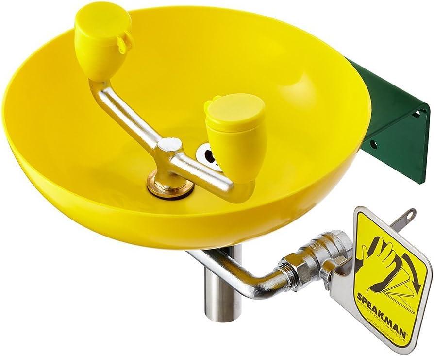Speakman, Yellow SE-580 Traditional Series Wall-Mounted Emergency Eyewash - Science Lab Eye Wash Units -