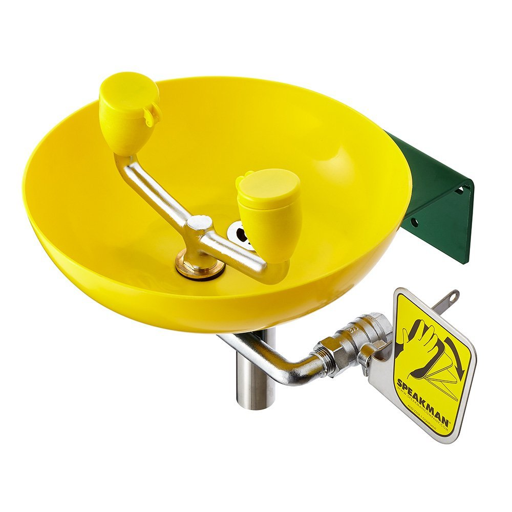 Speakman SE-580 Traditional Series Wall-Mounted Emergency Eyewash, Yellow