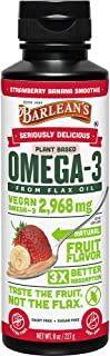 product image for BARLEAN'S Seriously Delicious Omega-3 Flax Oil, Strawberry Banana Smoothie, 8-oz (705875000291)