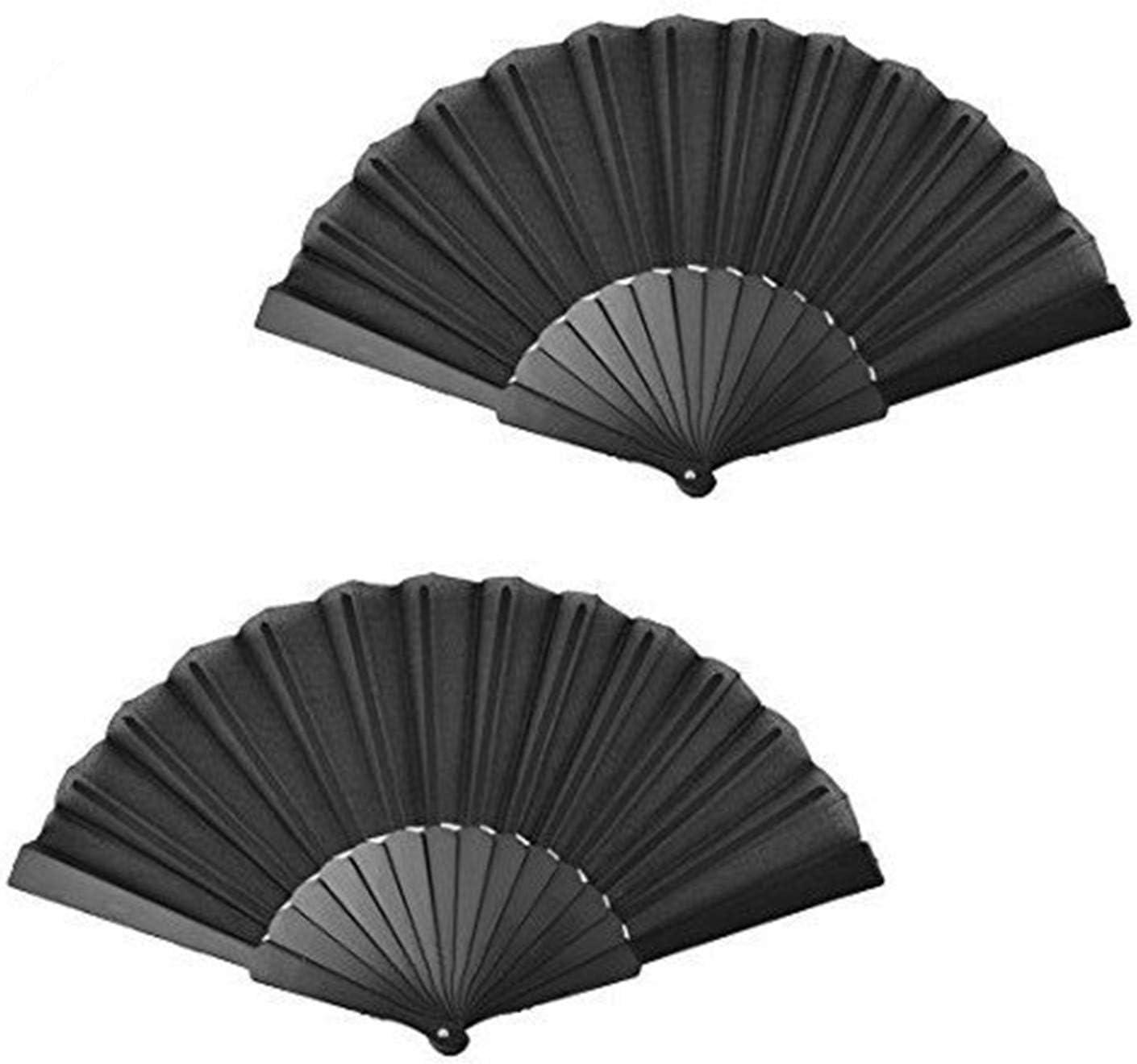 XMHF Festival Dancing Cooling Folding Handheld Fan Black 23cm Length 2Pcs