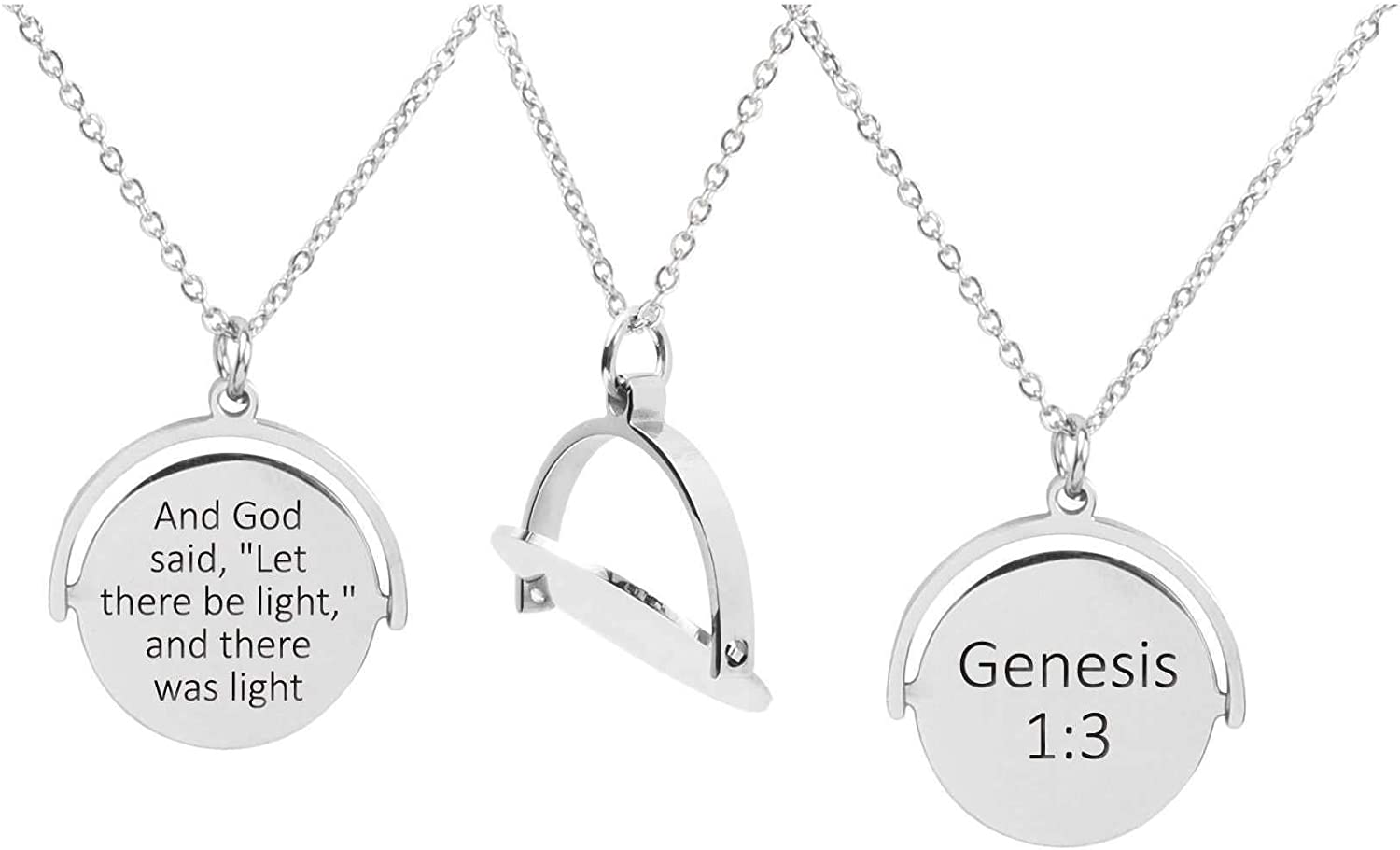 Silver Genesis 1:3 Pink Box Rotating Disc Scripture Necklace