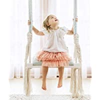 Kid Swing Chair,Child Hanging Chair Wooden Swing Seat with Sponge Pad Cotton Rope and Armrest Cover Rope Chair Support 150kg,Blue