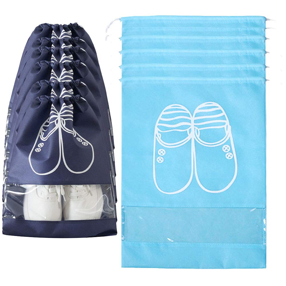 VEIREN Travel Shoes Pouches, Drawstring Storage Bags, Sneaker/High Heel/Boots Organizer Space Saving with Transparent Window Dust-proof(2 Size)