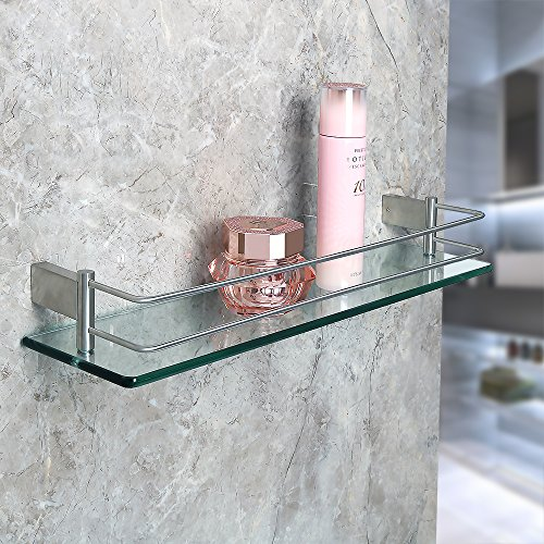 Alise GC1000 SUS 304 Stainless Steel Bathroom Glass Shelf Wall Mount,Brushed Finish by Alise (Image #2)