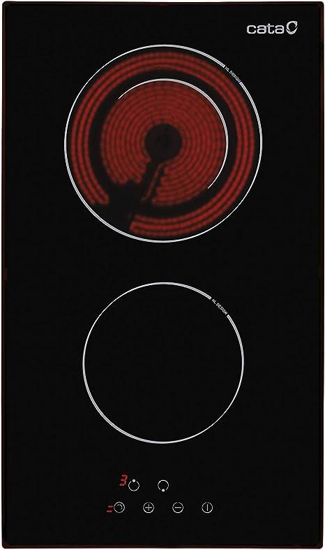Cata | Placa Vitrocerámica | Modelo TD 302 | 2 Zonas de Cocción High Light | 9 Niveles de Potencia Regulables | 30 cm de Ancho | Control Táctil | ...