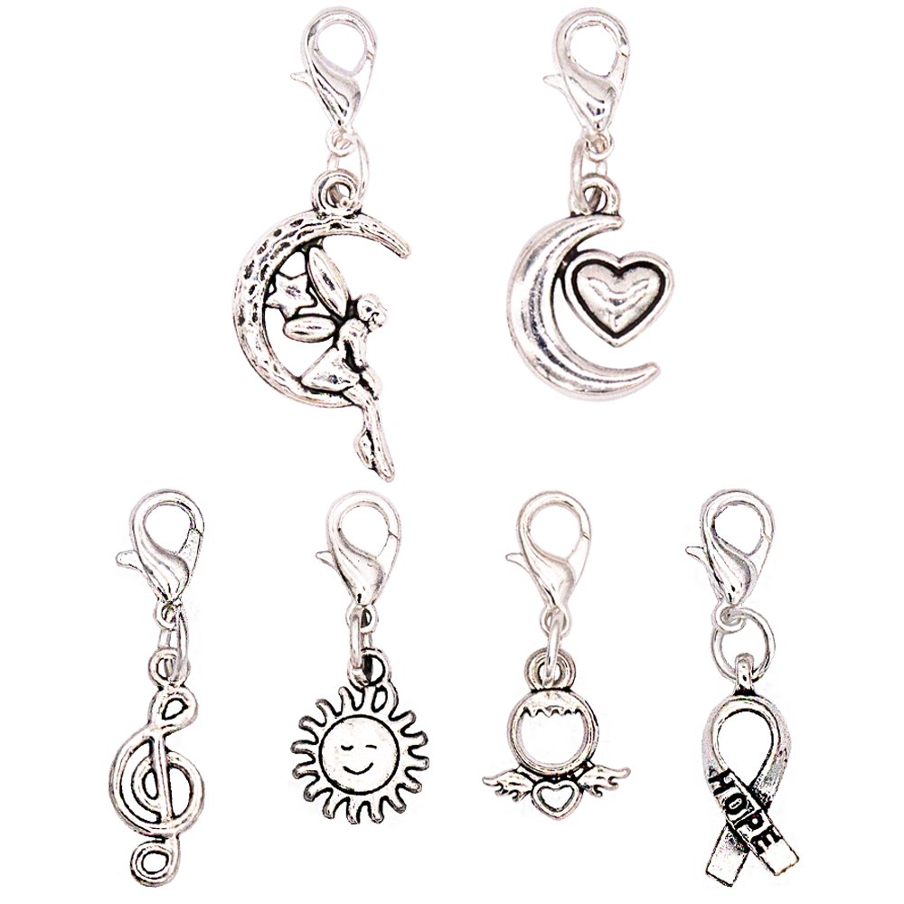 Ascrafter Small Zipper Pull Charms - Set of 6 - Knitting Stitch Markers, Crochet Markers, Purse Charms, Jewelry Charm Pendant