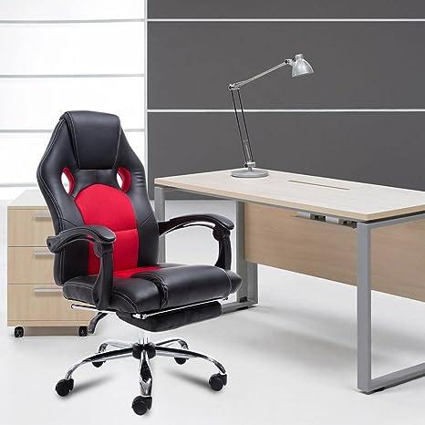 Silla de oficina giratoria con reposapiés de piel sintética, ergonómica, para oficina, respaldo