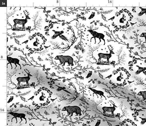 Spoonflower Woodland Fabric - Winter Toile (Black and White) Fabric Home Decor Rustic Wildlife Deer Bear Black Print on Fabric by The Yard - Chiffon for Sewing Fashion Apparel Dresses Home Decor