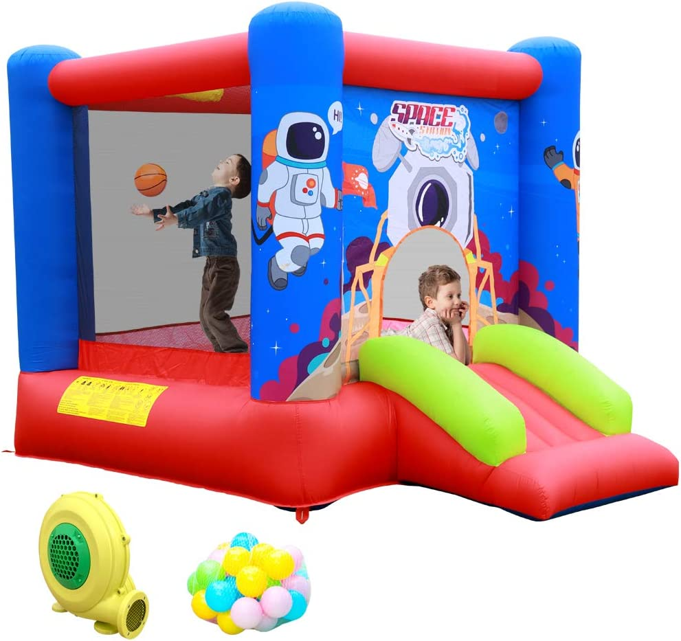 WELLFUNTIME Inflatable Bounce House Jumping Castle Slide with Blower, Kids Bouncer with Basketball Rim