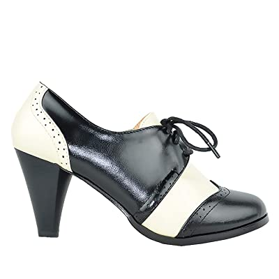 Chase & Chloe Dora-5 Two Tone Lace Up Low Heel Women's Oxford | Oxfords