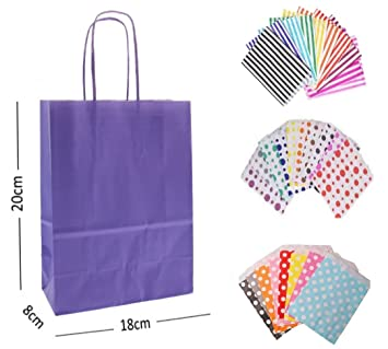 X 10 LAVENDER PURPLE GIFT BAGS WITH MATCHING LILAC BIRTHDAY CAKE