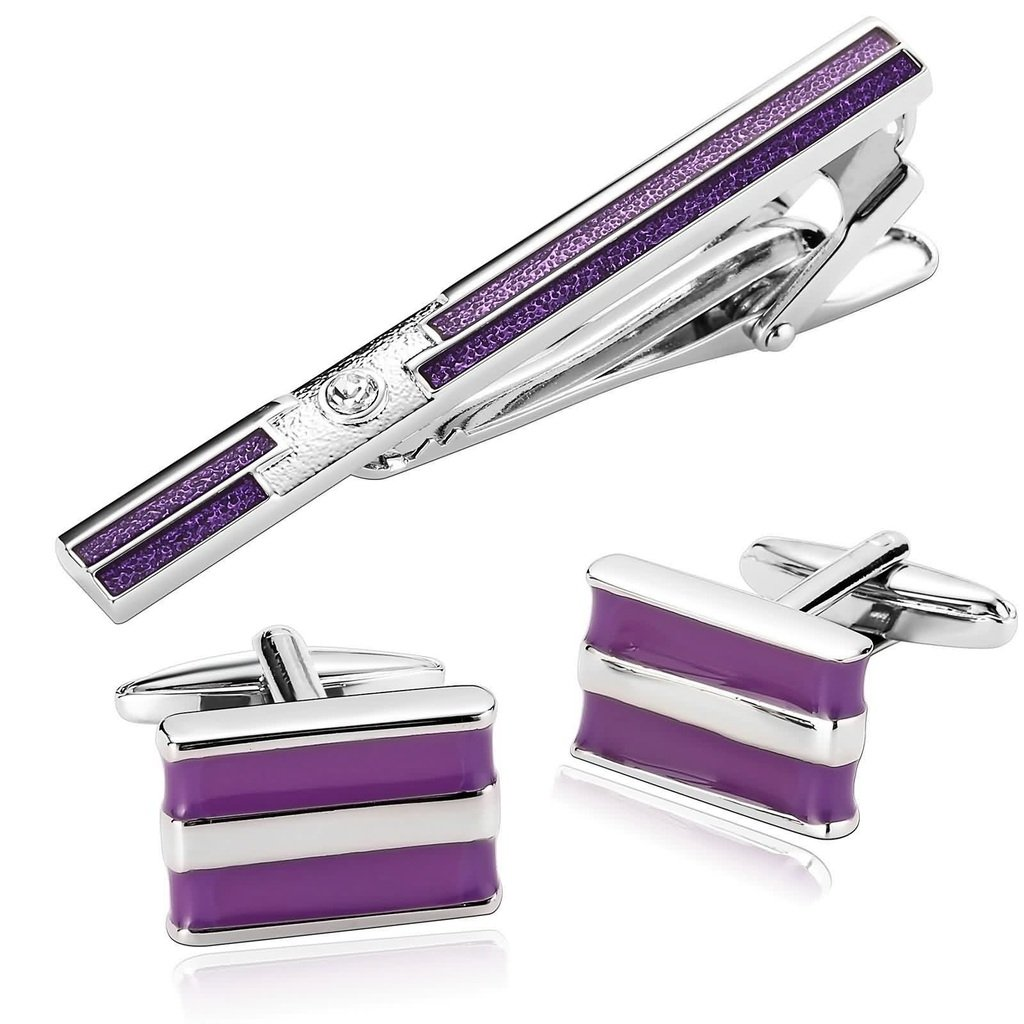 KnSam Men Stainless Steel Tie Clip Cufflink Set Silver Rectangle Purple Oil Drip Tie Bar Shirt Stud