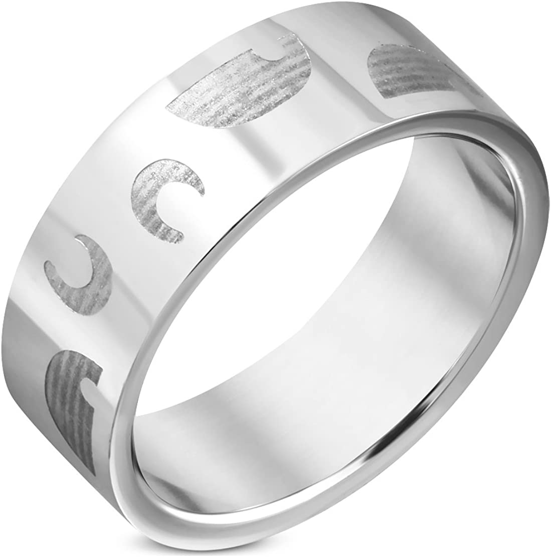 Stainless Steel U//C Alphabet Flat Band Ring