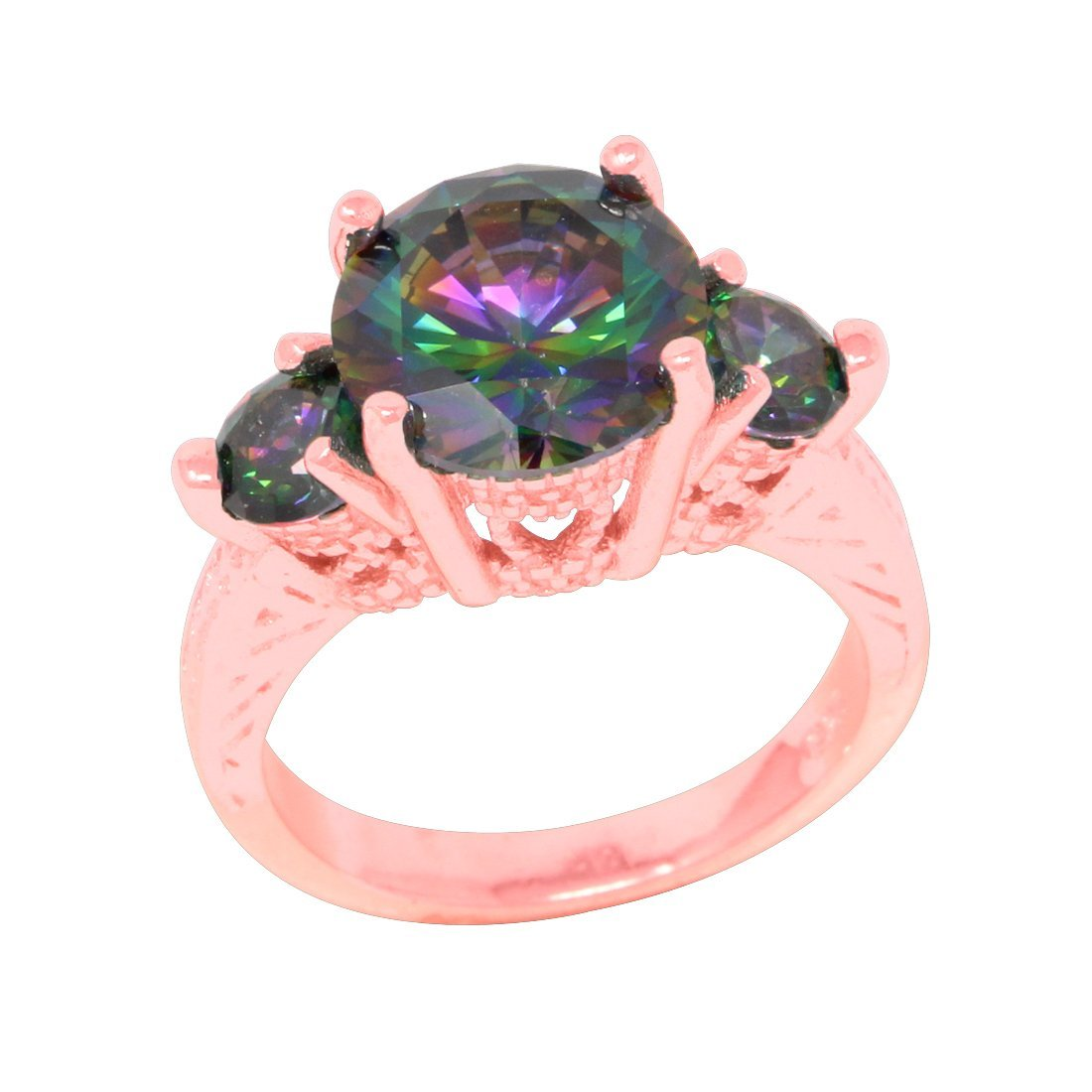 Amazon.com: 3 Stone Filigree Engagement Ring Round Simulated Rainbow ...
