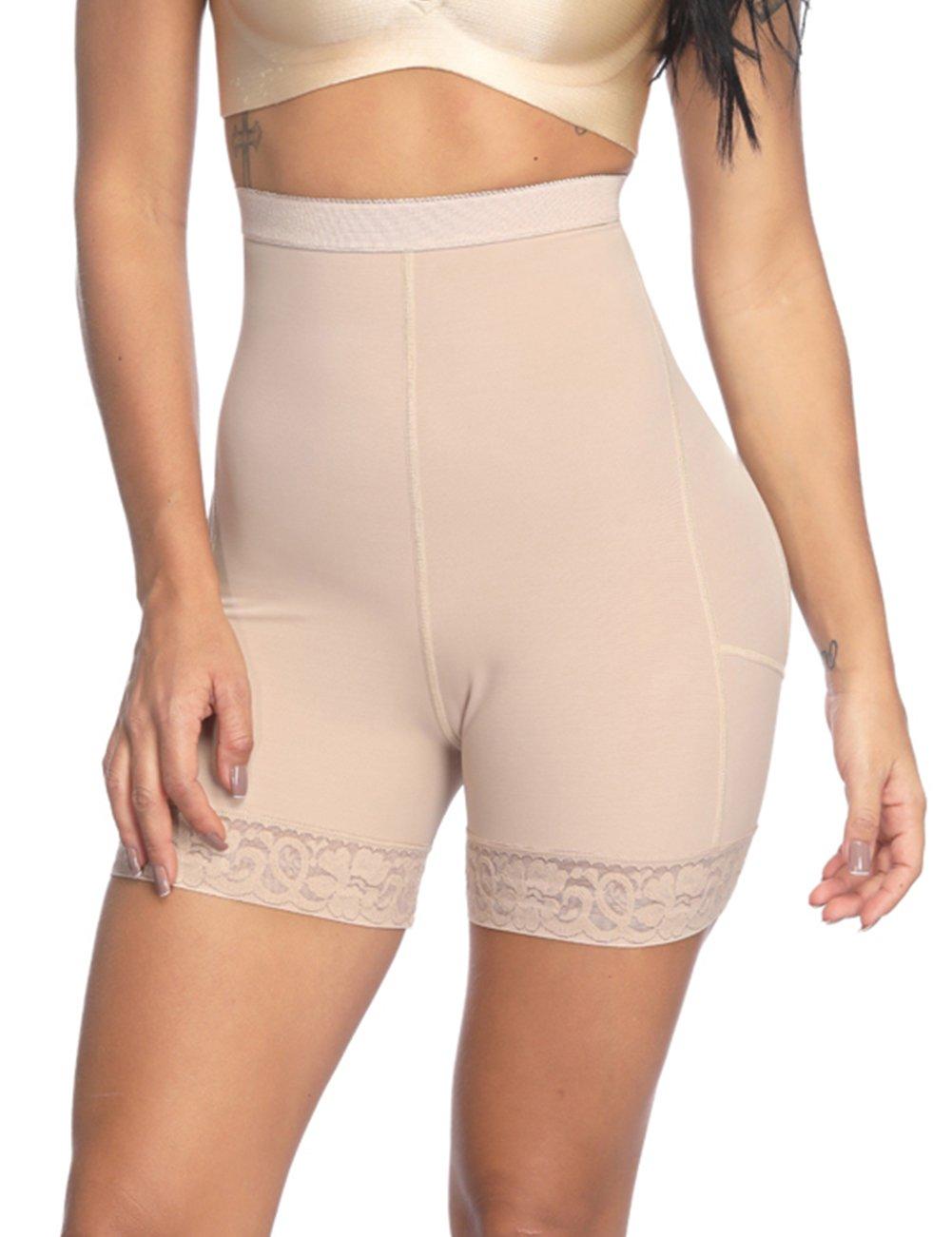 Womens Recovery Slimming Underwear High Waist Tummy Control Thigh Slimmer Beige XXL