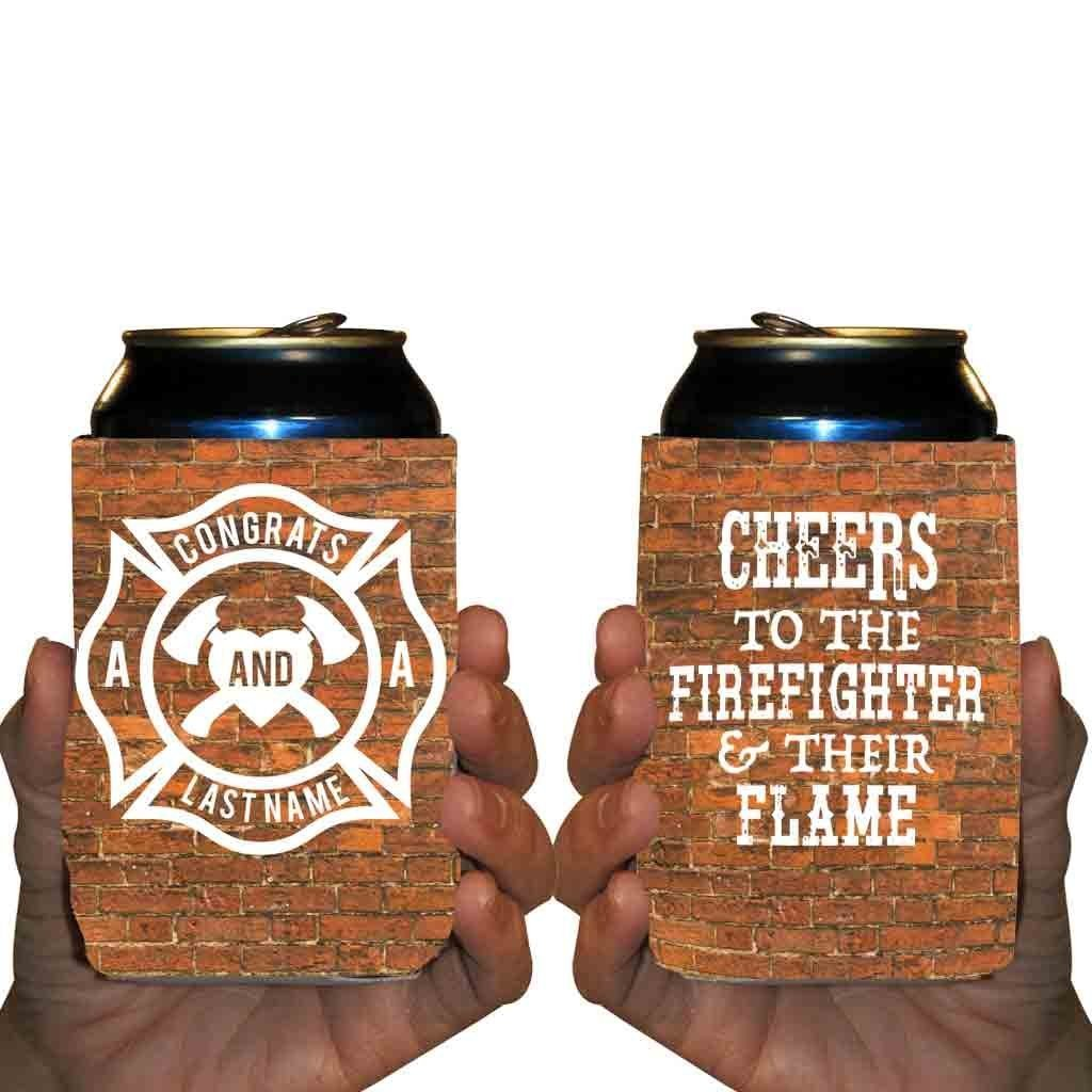 Custom Wedding Can Cooler- Cheers to the Firefighter and Their Flame - Firefighter Wedding Can Cooler (150) by VictoryStore