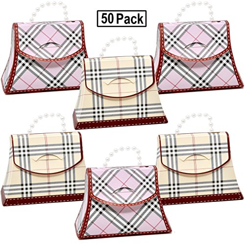 50 Plaid Favor Bag Purse Boxes Craft Kit Pink and Beige Colo