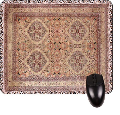 Antique Persian Kerman Rug (Antique Style Kerman Persian Rug Print Design TM -Square Mouse pad - Stylish, Durable Office Accessory and Gift Made in the USA)