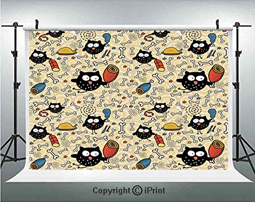 Doodle Photography Backdrops Hungry Owls with Lots of Bones and Chunks of Meat Eating Cute Drawing Doodle,Birthday Party Background Customized Microfiber Photo Studio Props,7x5ft,Black Multicolor