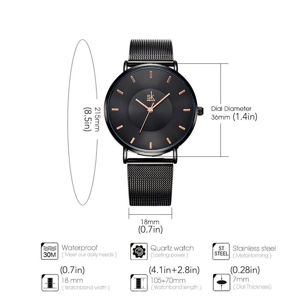 Amazon.com: SK Simple Watches on Sale Analog Mesh Watches for Women Stainless Steel Band reloj de Mujer (K0059-Black): Watches