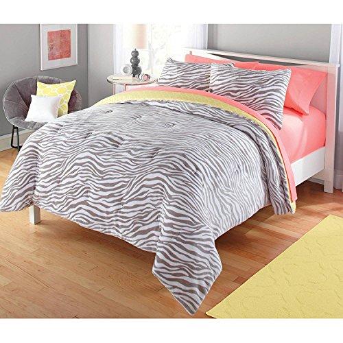 Luxlen Zebra Pattern Comforter Set, Reversible, Twin, Yellow (Cheap Kids Comforter Sets)