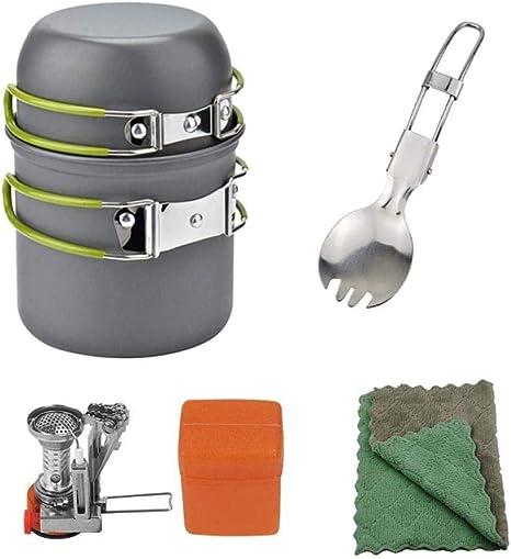 YSCYLY Utensilios Cocina Camping Kit,Juego de ollas para 1-2 ...