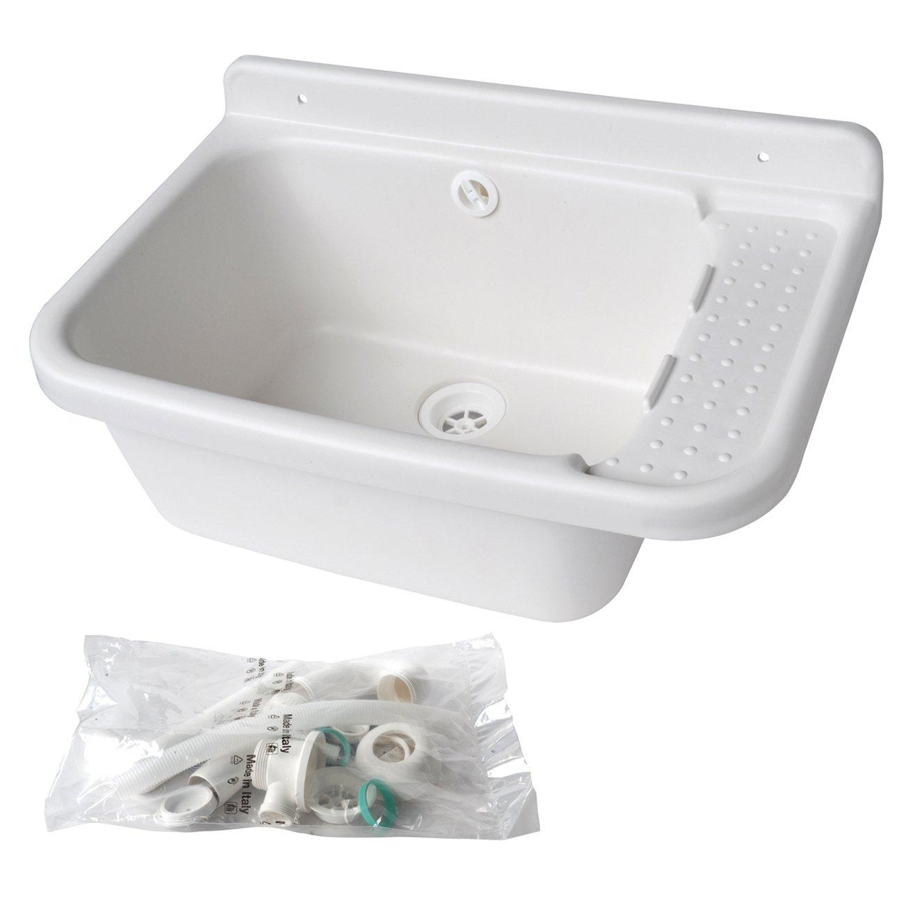 The Ventilation lavsg60-y Sink pilozzo in Resin, White, 600x 420x 300mm by La Ventilazione