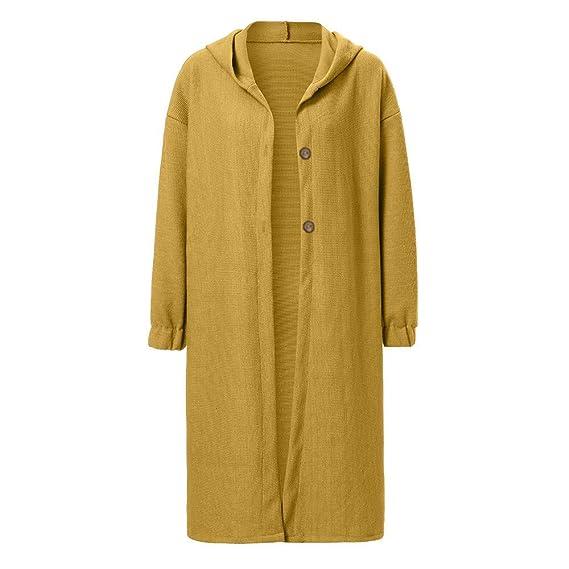 Rovinci☆ Abrigos para Mujer Invierno Cálido Manga Larga Color Puro Suelta Suéter Largo Cardigan con Capucha Outwear: Amazon.es: Ropa y accesorios