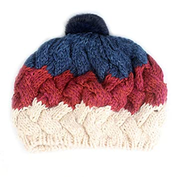 Amazon.com   New Fall Women Winter Hat For Girl Knitted Beret Hat With  Rabbit Fur Pom Pom Fashion Beanie Cap Sky Blue 58cm   Beauty 2268ad5b8872