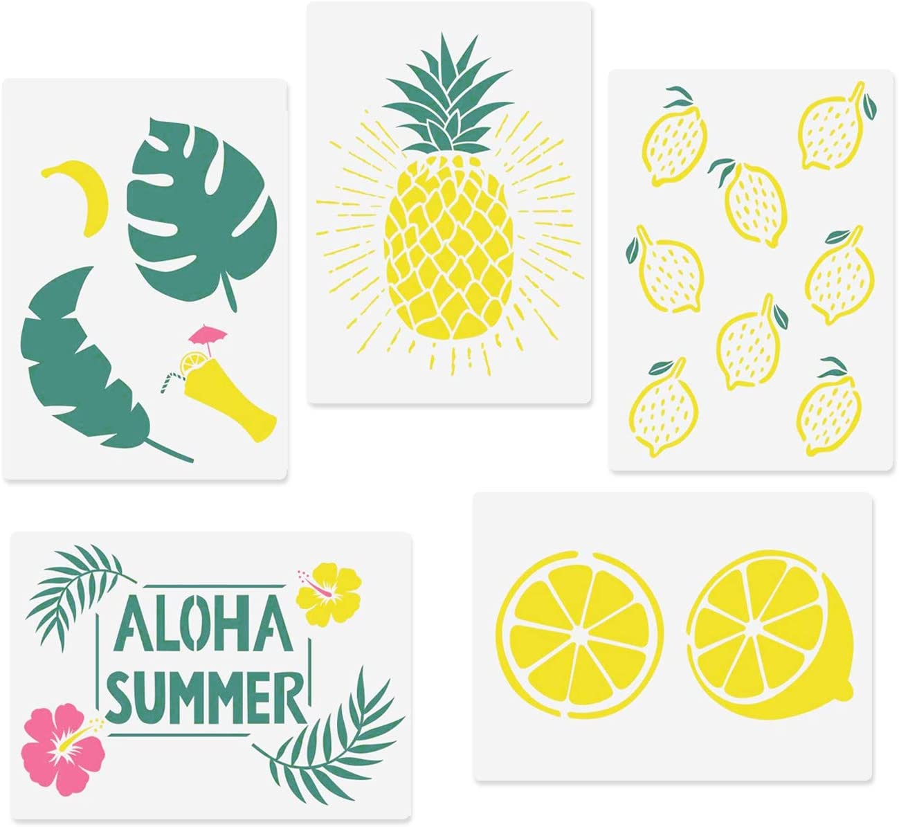 Amazon Com Codohi Aloha Stencils Lemon Pineapple Hawaii Flower Tropical Leaves 5 Packs A4 Reusable Mylar Template For Journaling Diy Home Decor Art Projects Painting Wall 11 7 X 8 26 Home Improvement