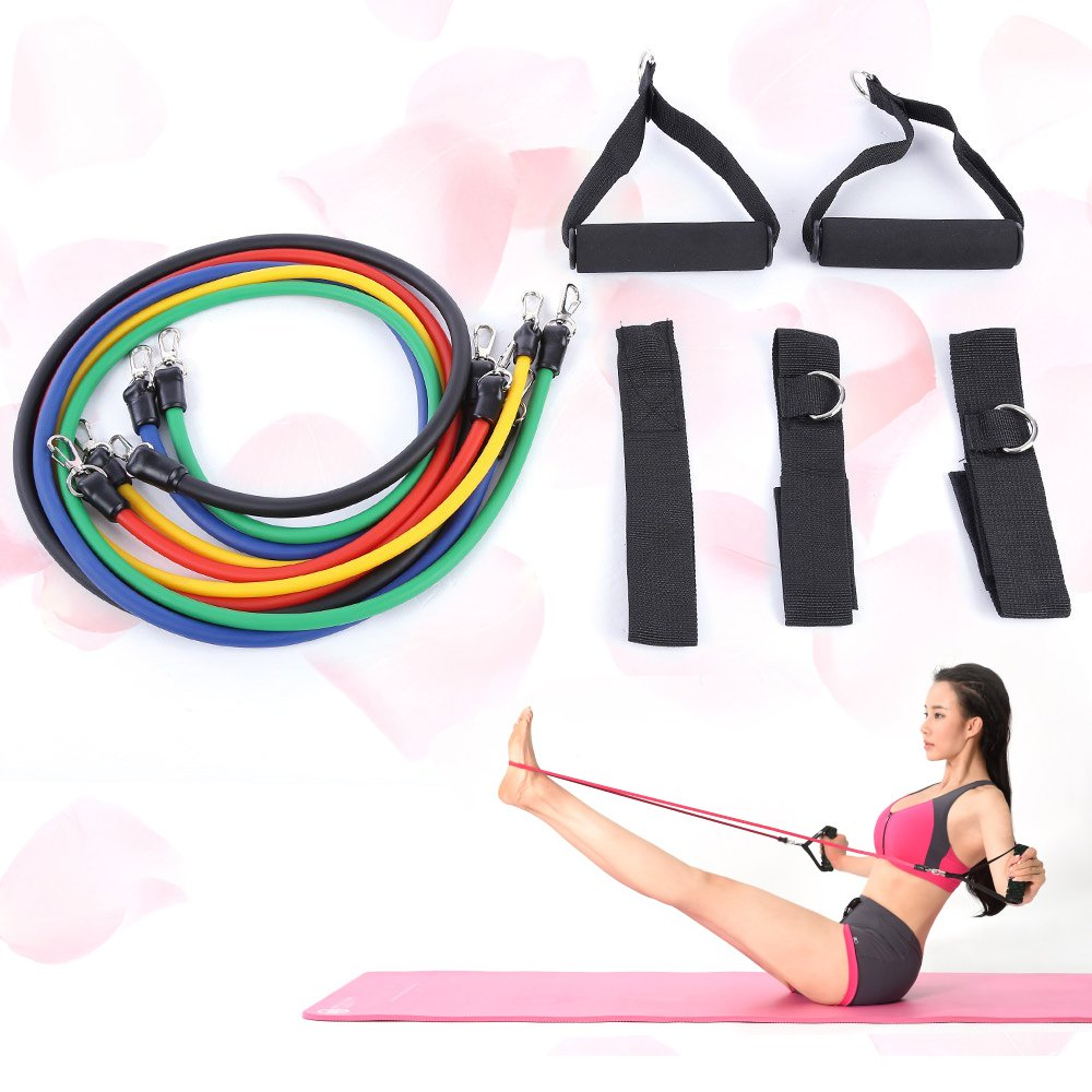 11pcs Set Latex Resistance Bands Exercise Tubes Fitness Yoga Pull Rope Tubing Expanders Elastic Rope Crossfit Fitness Equipment by Sun Vale (Image #1)