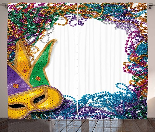 Mardis Gras Curtain - Ambesonne Mardi Gras Curtains, Colorful Framework Design with Vibrant Beads and Mask Fat Tuesday Holiday Theme, Living Room Bedroom Window Drapes 2 Panel Set, 108 W X 90 L inches, Multicolor