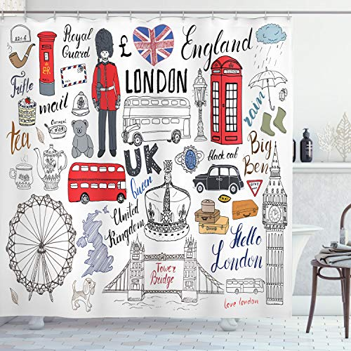 Ambesonne Doodle Shower Curtain, I Love London Double...