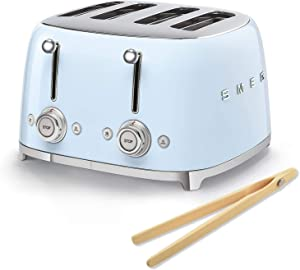 Smeg 50s Retro 4-Slot Toaster TSF03 Bundle with Norpro Bamboo Tongs (Pastel Blue)